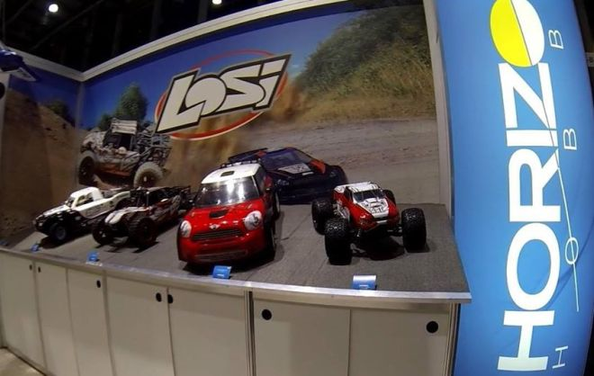 From the Losi Facebook page, their large scale vehicles together at the 2014 Toy Fair.