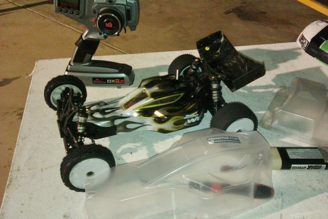 Ready to Race last Friday night with a borrowed body, and the Pulse RC body in the foreground ready to be cut and painted soon.